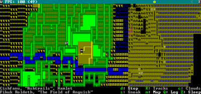 Df2014adventure mode quick start dwarf fortress wiki fast travel screen this adventurer is in a hamlet with houses to the right and the mead hall visible in the upper left corner of the hamlet gumiabroncs Choice Image